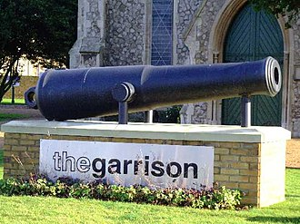 MoD Shoeburyness - Cannon outside the Garrison Church of St Peter and St Paul, Horseshoe Barracks