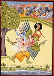 Vishnu and Lakshmi riding on Vishnu's Vahana Garuda - Painting in LACMA from Rajasthan, Bundi, c.1730