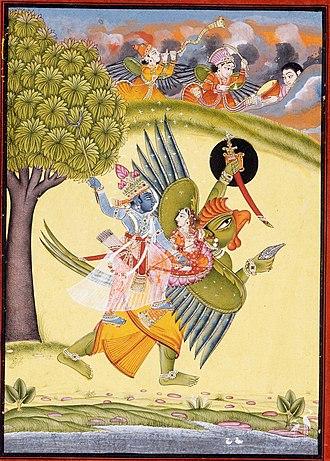 Garuda - Vishnu and Lakshmi riding on the Garuda – Painting in LACMA from Rajasthan, Bundi, c.1730
