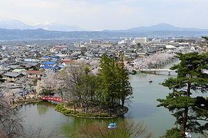 Suzaka, Nagano - View of downtown Susaka and Garyu Park