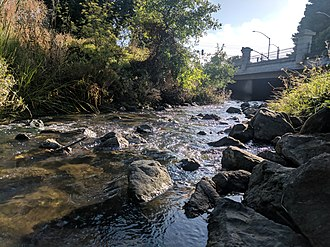 San Mateo Creek (San Francisco Bay Area) - San Mateo Creek just downstream of Gateway Park, where the creek passes under the intersection of Third and Humboldt (Aug 2018)