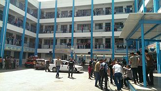 Rimal - The elementary school in the Rimal neighborhood, where UNRWA is housing refugees who left their homes on orders from the Israeli military on the night between 12 and 13 July, 2014