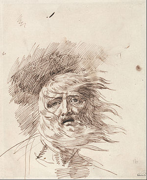 "Re Lear - ""Lear in the Storm""; George Romney, 19th century drawing, date unk."