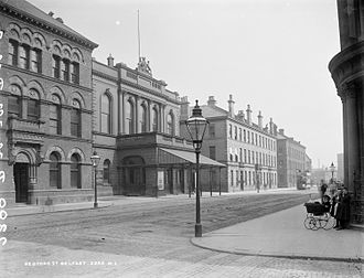Ulster Hall - The Ulster Hall in an empty Bedford Street, c. 1890