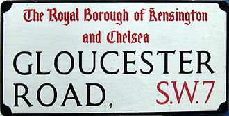 Gloucester Road, London - street sign
