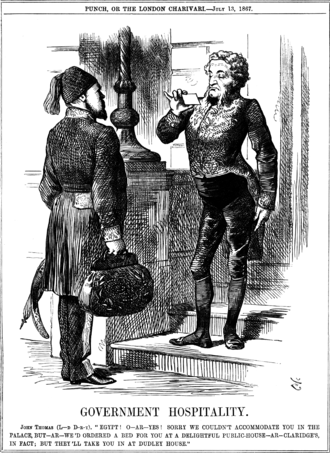 Isma'il Pasha - Punch cartoon featuring Isma'il Pasha during his visit to Britain in 1867