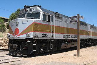 Grand Canyon Railway - EMD F40FH diesel-electric locomotive GCRX 295 at Grand Canyon Village, 2013.