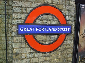 Great Portland Street tube station - Image: Great Portland Street stn roundel