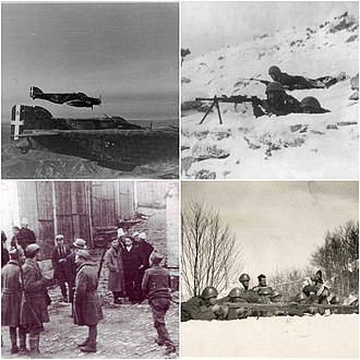 Greco-Italian War - Clockwise: Italian bombers over Greek territory, Italian soldiers during winter in Albania, Greek soldiers in Gjirokaster, Greek soldiers during the Italian Spring Offensive