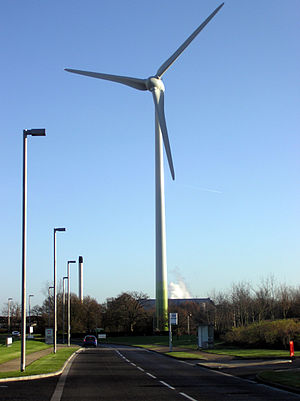 A wind turbine at Greenpark, Reading, England,...