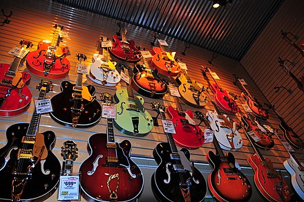 A selection of electric guitars at Sam Ash Music in Hollywood, California. Gretsch & other guitars, Sam Ash, Hollywood.jpg