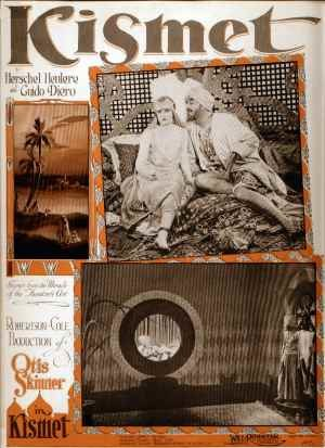 Kismet (1920 film) - sheet music cover with film scenes