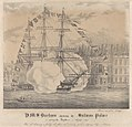H.M.S. Barham passing the Sultans Palace on quitting the Bosphorus 2 August 1832. Time of shortening and furling all plain sail manning yards and dressing Ship 2 1-2 Minutes. RMG PY0781.jpg