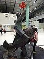 HK Lok Ma Chau MTR Station 落馬洲站 Bauhinia Rider sculpture Chinese Scuptor 蔣朔 Jiang Shuo Bronze statue March 2016 Concourse Level 3 DSC (9).JPG