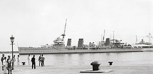 HMS Enterprise (D52) - Enterprise at Haifa on 6 May 1936