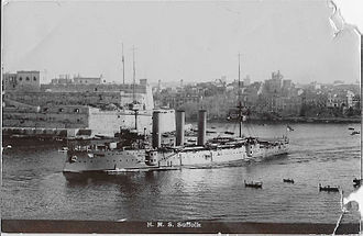 HMS Suffolk (1903) - Suffolk underway in a harbour
