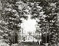 HUA-95094-Gezicht op de vijver en de voorgevel van het paviljoen met in het park van het huis de Hooge Vuursche I te Baarn met op de voorgrond de volière.jpg