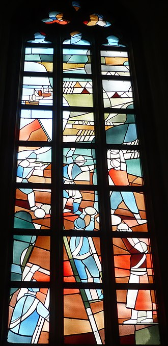 Siege of Haarlem - Stained glass window in St. Bavochurch by Friso ten Holt (1980), commemorating the siege of Haarlem.