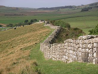 Anglo-Scottish border - Hadrian's Wall near Greenhead. The Wall has never formed the actual Anglo-Scottish border.
