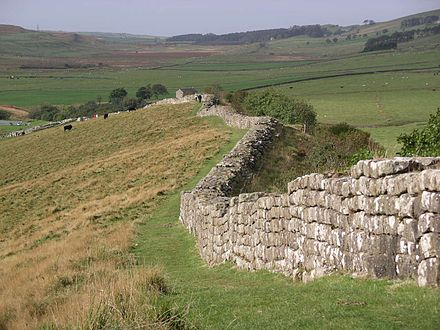 Hadrian's Wall, one of the most famous Roman remains in Northern England, is now a World Heritage Site. Hadrian's wall at Greenhead Lough.jpg