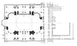 a) Plan of the gallery (upper half) b) Plan of the ground floor (lower half) Hagia-Sophia-Grundriss.jpg