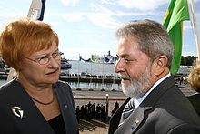 Halonen together with Luiz Inácio Lula da Silva cdc90cbd8f