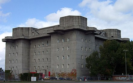 Flakturm on the Heiligengeistfeld in Hamburg - one of four enormous fortress-like bunkers which were built of reinforced concrete between 1942 and 1944 and equipped with anti-aircraft artillery for air defense Hamburg Medienbunker 01 KMJ.jpg