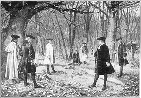Alexander Hamilton defending his honour by accepting Aaron Burr's challenge to a duel.