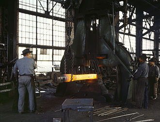 Santa Fe Railway Shops (Albuquerque) - Railroad workers forging a part in the blacksmith shop, 1943