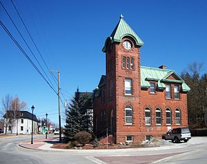 Hampton, New Brunswick - Former Hampton Post Office showing the old county gaol in the background.