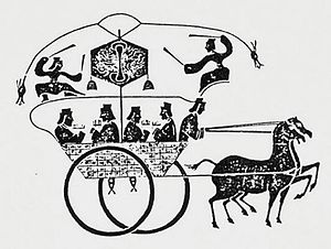 Mechanical counter - A Han Dynasty stone rubbing of a horse-drawn odometer cart.