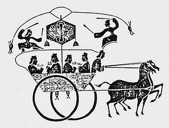 Odometer - A Han Dynasty stone rubbing of a horse-drawn odometer cart.