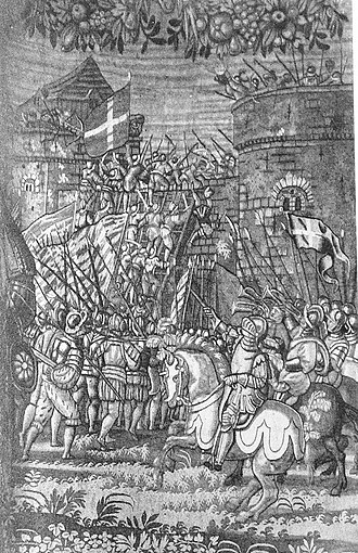Flag of Denmark - One of Hans Knieper's heroic tapestries of Danish kings from 1585. King Erik Menved storming a castle. Note the two Danish flags. Original located at Kronborg Castle.