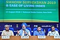 Hardeep Singh Puri addressing a press conference at the launch of the Protocol for Swachh Survekshan 2019, ODF+ & ODF++ toolkit; Swachh Manch portal and Ease of Living Index, in New Delhi.JPG