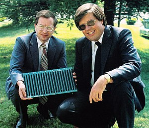 S-100 bus - Harry Garland and Roger Melen, co-founders of Cromemco, holding S-100 backplane (1981)