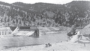 Hauser Dam - Looking upstream at Hauser Dam after its catastrophic collapse on April 14, 1908