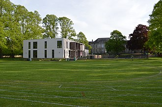 Hayesfield Girls' School - Lower school field and Nucleus science block, with the former barracks / main building behind