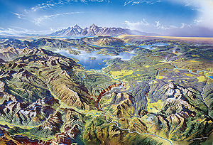 Heinrich C. Berann - Painting of Yellowstone as seen from the north.