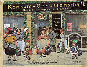 Berlinerisch dialect - Konsum-Genossenschaft, watercolor by Heinrich Zille, 1924