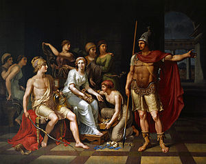 Hector - Hector Admonishes Paris for His Softness and Exhorts Him to Go to War by J. H. W. Tischbein (1751–1828)