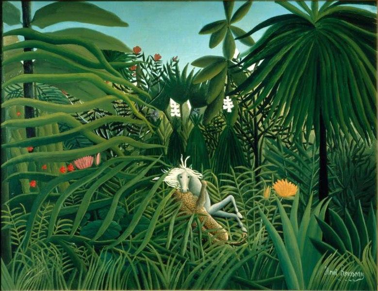 Henri Rousseau, 1910, Cheval attaqué par un jaguar (Jaguar Attacking a Horse), oil on canvas, 116 x 90 cm, Pushkin Museum