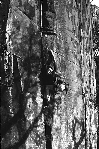 Henry Barber (rock climber) - Henry Barber on first ascent of Savage Journey at Lost World, Mt. Wellington, Tasmania, 1975