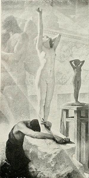 Pygmalion and Galatea (play) - The awakening of Galatea, by Herbert Gustave Schmalz.