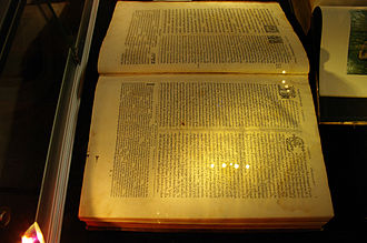 Plantin Polyglot - Plantin polyglot (1572), owned by the Benedictine monks of New Norcia, Western Australia open on Genesis 1