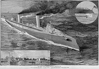 Nathanael Greene Herreshoff - Herreshoff torpedo boat, engraving from Harper's Weekly, June 1889