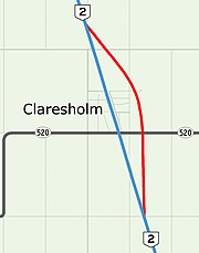 Proposed Highway 2 bypass of Claresholm, Alberta.