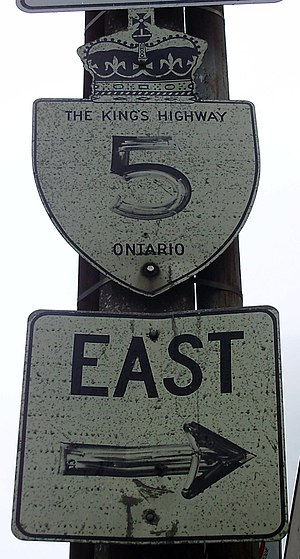 Ontario Highway 5 - An old trailblazer for Highway 5 in Toronto.