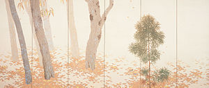 Nihonga - Rakuyō (落葉, Fallen Leaves) by Hishida Shunsō, Important Cultural Property (1909)