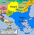 Historic map of Balkan peninsula around 1150 AD - French.jpg