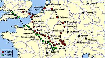 Map charting the Shelleys' 1814 and 1816 tours throughout Europe.